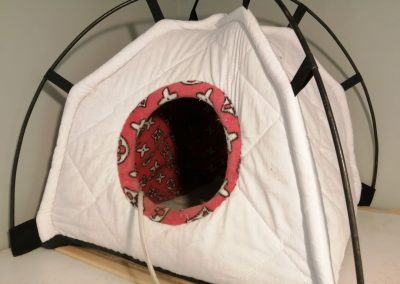 an igloo with heating pad inside for warmth and cat comfort